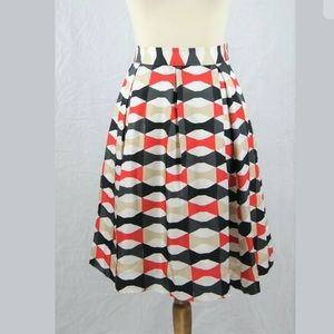 Kate Spade NY Bow Print Julie Pleated Silk Skirt 8
